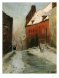 A Winter Street Scene, Montreuil Giclee Print by Fritz Thaulow