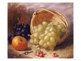 An Upturned Basket of Grapes, an Apple and Other Fruit Giclee Print by Eloise Harriet Stannard
