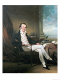 Portrait of a Gentleman, Seated Small Full Length, Wearing a Black Coat, by a Table Giclee Print by George Chinnery