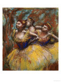 Three Dancers (Yellow Skirts, Blue Blouses) Giclee Print by Edgar Degas