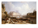 View of Ile De La Cite, Paris, from the Quai Du Louvre with the Pont Des Arts and the Pont Neuf Giclee Print by Caleb Robert Stanley