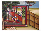 """Weaving Silk on a Loom, from """"The Process of Manufacturing Silk in 24 Stages"""" Posters"""