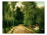 A Picnic at Montmorency Posters by Camille Pissarro