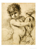 A Putto with a Vase Lámina giclée por Guercino (Giovanni Francesco Barbieri)