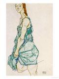 Upright Standing Woman Poster by Egon Schiele