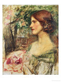 Portrait of a Lady in a Green Dress Posters by John William Waterhouse