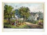 American Homestead; Autumn Giclee Print by Currier &amp; Ives 