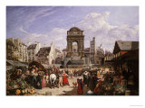 A View of the Market and Fountain of the Innocents, Paris Giclee Print by John James Chalon