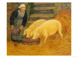 A Young Girl Feeding Two Pigs Prints by Paul Serusier
