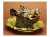 A German Fayence Boar's Head Tureen Cover and Stand Giclee Print