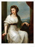 Portrait of the Artist, Seated Three-Quarter Length in a White Dress and Green Shawl Giclee Print by Angelica Kauffmann