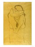 Auf Postament Kauernder Halbakt Print by Gustav Klimt