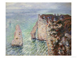 L'Aiguille and the Porte D'Eval, Etretat, 1886 Art by Claude Monet
