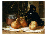 Onions, a Jug and a Ceramic Pot on a Tablecloth Giclee Print by Harry Brooker