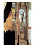 Glasses, a Newspaper and a Bottle of Wine Giclee Print by Juan Gris