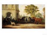 Lady Williams-Wynn's Favourite Phaeton, Ponies, Horses & Dogs at the Front Entrance at Wynnstay Giclee Print by Edward Lloyd