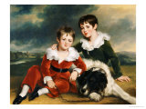 Portrait of Two Boys in Green and Red Velvet Suits Prints by Ramsay Richard Reinagle