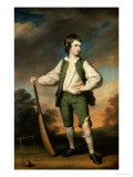The Young Cricketer: Portrait of Lewis Cage, Full-Length, in a Green Waistcoat and Breeches Giclee Print by Francis Cotes