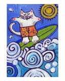Cat Surfing Giclee Print by Nicole Engblom