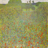 Meadow with Poppies Art by Gustav Klimt