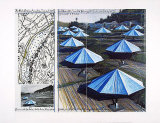 The Blue Umbrellas II Print by  Christo
