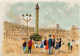 Paris, Place Vendome Collectable Print by Urbain Huchet