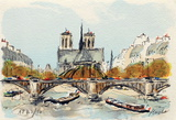 Paris, L&#39;Abside de Notre Dame Collectable Print by Urbain Huchet