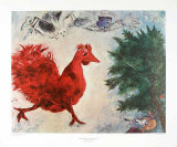 The Red Cock Prints by Marc Chagall