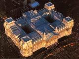 West- und Nordfassade Aus der Luft Fotografie-Druck von  Christo