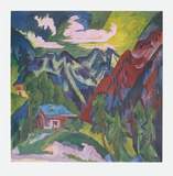The Mountains at Klosters, Switzerland Collectable Print by Ernst Ludwig Kirchner