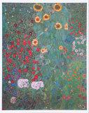 Bauerngarten mit Sonnenblumen Poster von Gustav Klimt