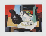 Guitar, Glass and Fruit Samlertryk af Pablo Picasso