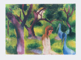 Girl with Blue Birds Collectable Print by Auguste Macke
