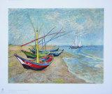 Fiskebåter på stranden ved Saints-Maries, ca. 1888 Samletrykk av Vincent van Gogh