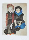 Two Little Girls, 1911 Prints by Egon Schiele