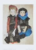 Two Little Girls, 1911 Prints by Egon Schiele