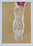 Nude Girl Standing, from the Backside, 1910 Samlertryk af Egon Schiele