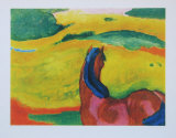 Horse in Landscape Collectable Print by Franz Marc