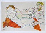 Entwined Reclining Couple, 1913 Collectable Print by Egon Schiele