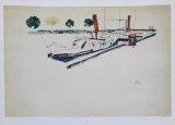Paddle-Steamer at the Quay, 1912 Samlertryk af Egon Schiele