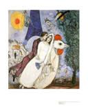 Brautpaar mit Eiffelturm Posters by Marc Chagall