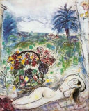 Akt mit Blumenkorb Collectable Print by Marc Chagall