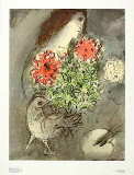 Woman, Flowers and Bird Reproductions pour les collectionneurs par Marc Chagall
