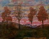 Quatre arbres Affiches par Egon Schiele