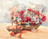 Blumenkorb mit Pfirsichen Poster by Rachel Rijkerke