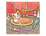 Ginger Tabby Cat In The Bathroom Sink Giclee Print by Jamie Wogan Edwards