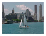 Sailboat on Chicago Harbor Photographic Print by Dot Beverage