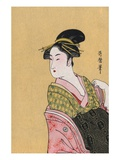Japanese Matchbox Label with a Woman in a Pink and Green Kimono Giclee Print