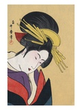 Japanese Matchbox Label with a Woman Wearing Traditional Hair Ornaments Giclee Print