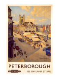 Peterborough market place Giclee Print by Bertram Prance